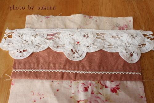 バテンレースミシン縫い付け