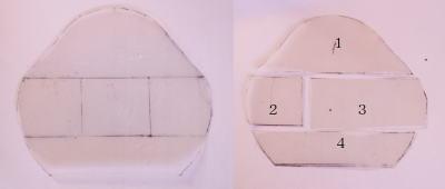 パッチワークガマ口財布作り方型紙
