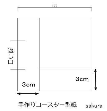 パッチワークコースター四角 型紙