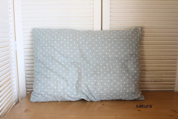 枕カバー作り方ファスナーなし水色ダブルガーゼ